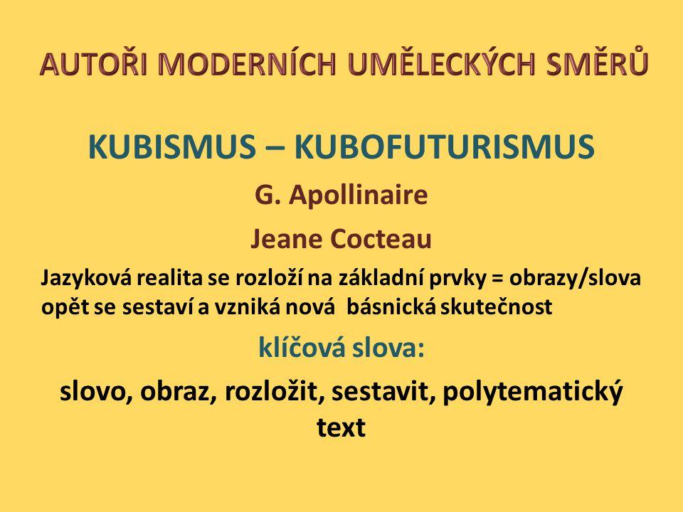 KUBISMUS – KUBOFUTURISMUS G.