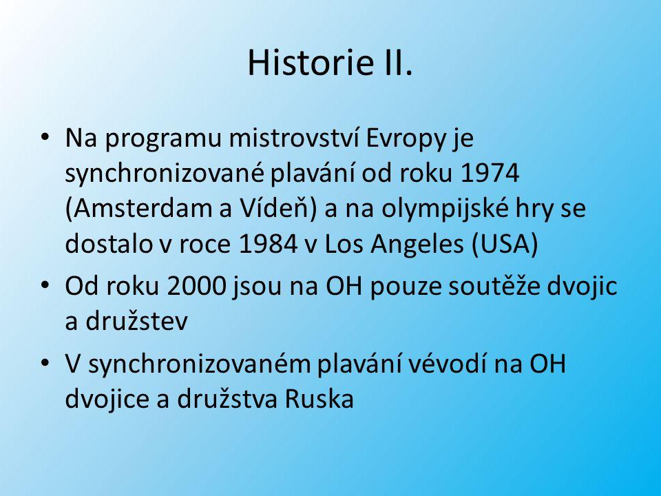 Historie II. Na programu mistrovství Evropy je synchronizované plavání od roku 1974 (Amsterdam a Vídeň) a na olympijské hry se dostalo v roce 1984 v L