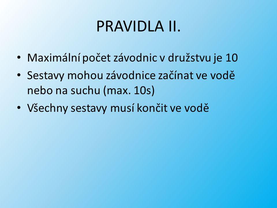 PRAVIDLA II. Maximální počet závodnic v družstvu je 10 Sestavy mohou závodnice začínat ve vodě nebo na suchu (max. 10s) Všechny sestavy musí končit ve