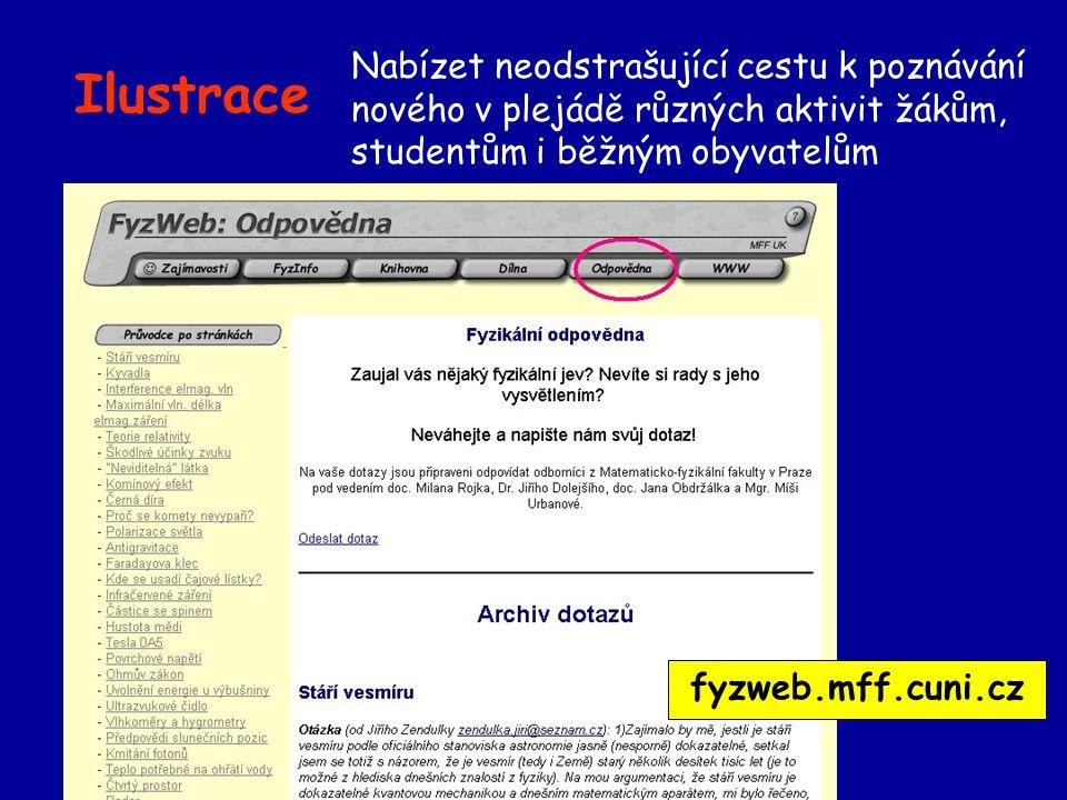 Ilustrace Nabízet neodstrašující cestu k poznávání nového v plejádě různých aktivit žákům, studentům i běžným obyvatelům fyzweb.mff.cuni.cz