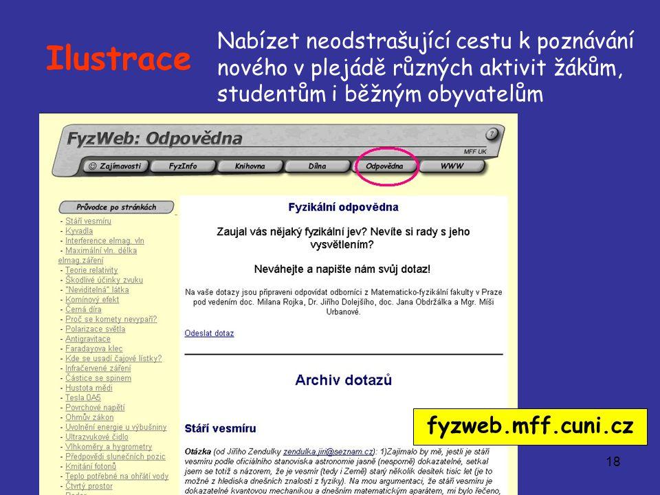 18 Ilustrace Nabízet neodstrašující cestu k poznávání nového v plejádě různých aktivit žákům, studentům i běžným obyvatelům fyzweb.mff.cuni.cz