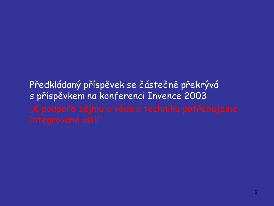 """2 Předkládaný příspěvek se částečně překrývá s příspěvkem na konferenci Invence 2003 """"K podpoře zájmu o vědu a techniku potřebujeme integrované úsilí"""""""