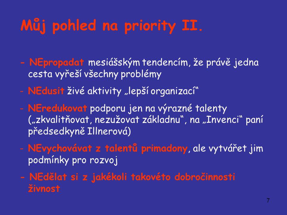 """7 Můj pohled na priority II. - NEpropadat mesiášským tendencím, že právě jedna cesta vyřeší všechny problémy -NEdusit živé aktivity """"lepší organizací"""""""