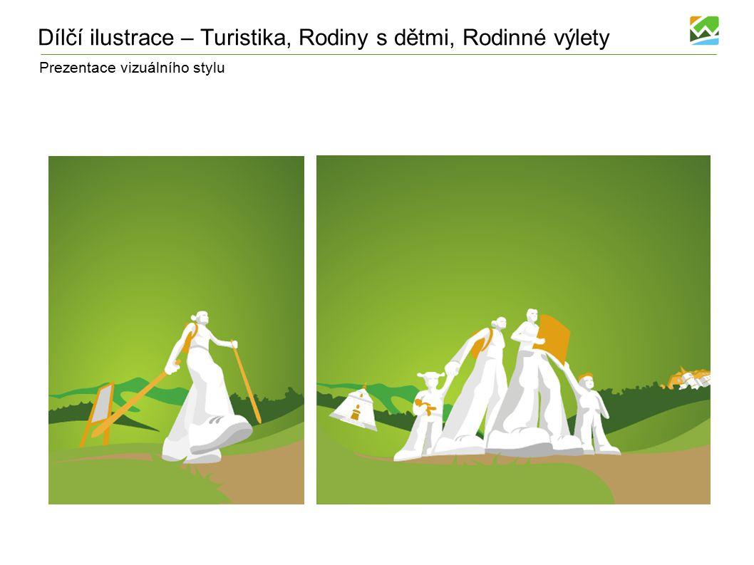 Prezentace vizuálního stylu Dílčí ilustrace – Turistika, Rodiny s dětmi, Rodinné výlety