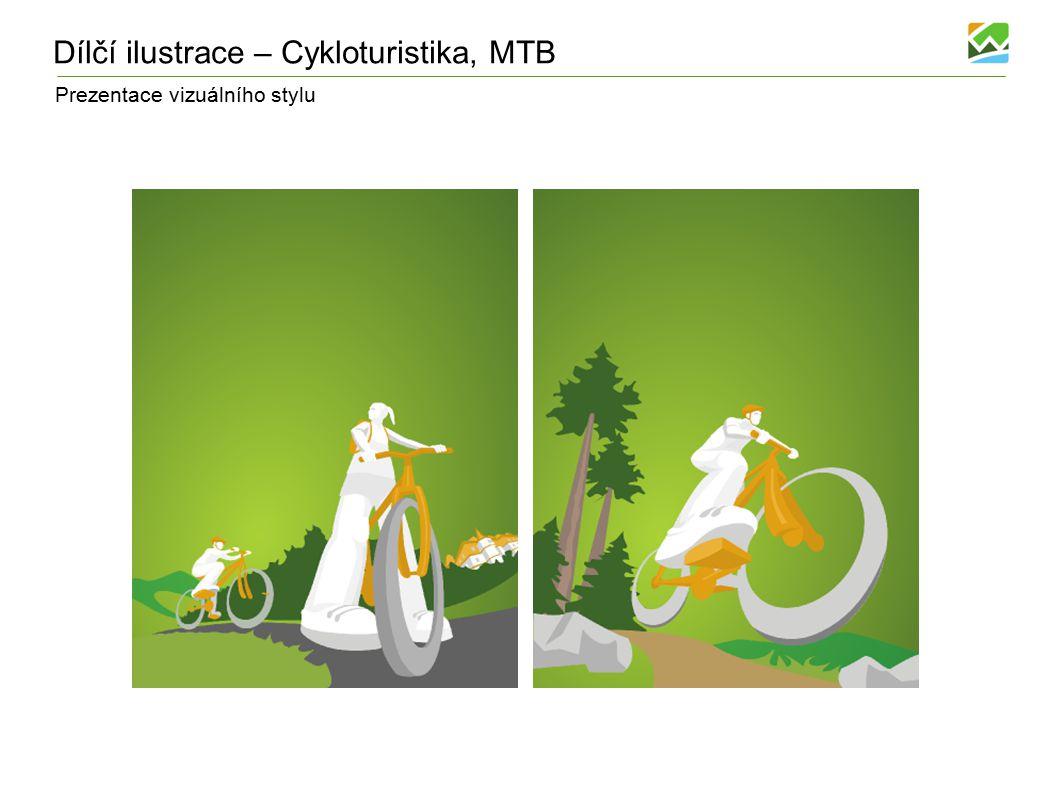 Prezentace vizuálního stylu Dílčí ilustrace – Cykloturistika, MTB