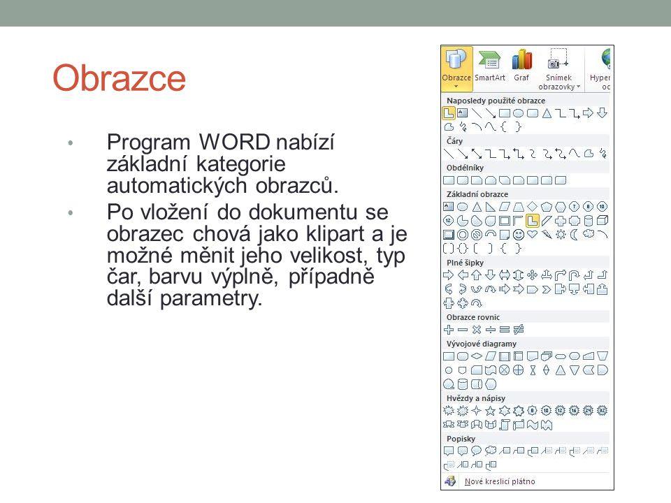 Obrazce Program WORD nabízí základní kategorie automatických obrazců.