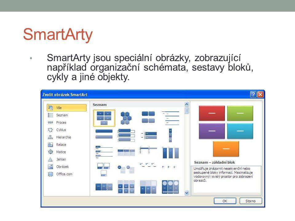 SmartArty SmartArty jsou speciální obrázky, zobrazující například organizační schémata, sestavy bloků, cykly a jiné objekty.