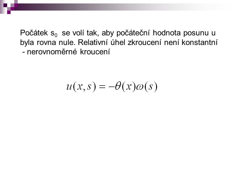 Počátek s 0 se volí tak, aby počáteční hodnota posunu u byla rovna nule. Relativní úhel zkroucení není konstantní - nerovnoměrné kroucení