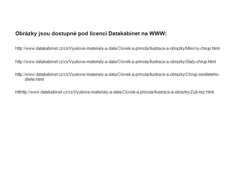 Obrázky jsou dostupné pod licencí Datakabinet na WWW: http://www.datakabinet.cz/cs/Vyukove-materialy-a-data/Clovek-a-priroda/Ilustrace-a-obrazky/Mlecny-chrup.html http://www.datakabinet.cz/cs/Vyukove-materialy-a-data/Clovek-a-priroda/Ilustrace-a-obrazky/Staly-chrup.html http://www.datakabinet.cz/cs/Vyukove-materialy-a-data/Clovek-a-priroda/Ilustrace-a-obrazky/Chrup-sestileteho- ditete.html htthttp://www.datakabinet.cz/cs/Vyukove-materialy-a-data/Clovek-a-priroda/Ilustrace-a-obrazky/Zub-rez.html