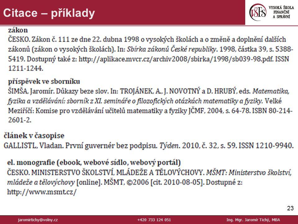 23 Citace – příklady jaromirtichy@volny.cz+420 733 124 051Ing. Mgr. Jaromír Tichý, MBA
