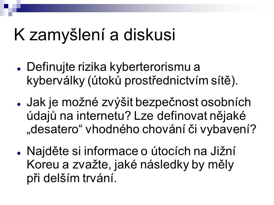 K zamyšlení a diskusi Definujte rizika kyberterorismu a kyberválky (útoků prostřednictvím sítě). Jak je možné zvýšit bezpečnost osobních údajů na inte
