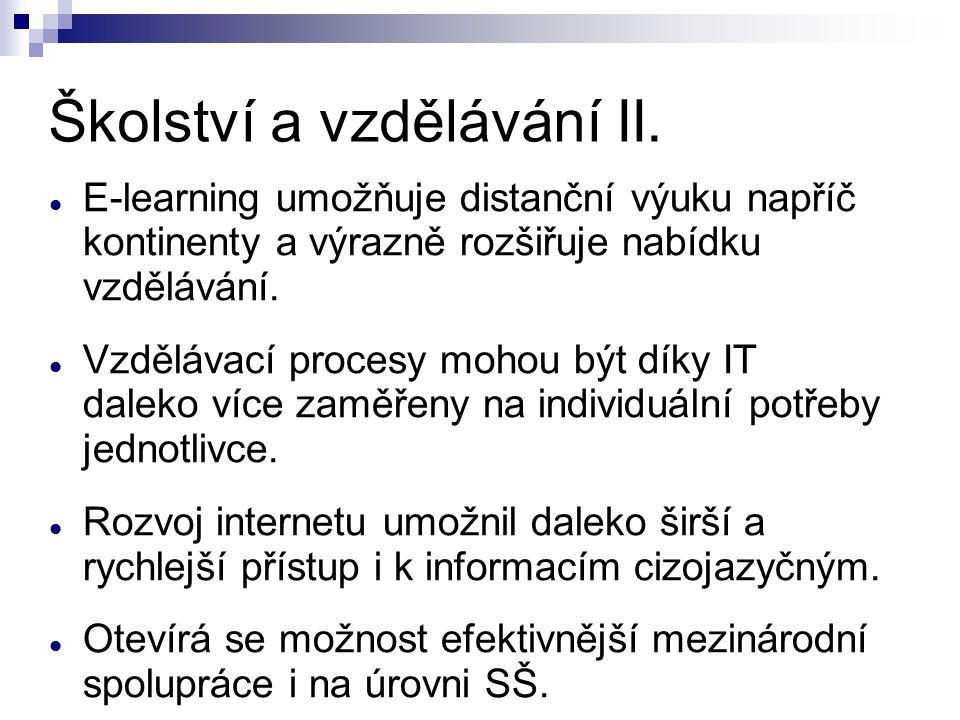 Školství a vzdělávání II.