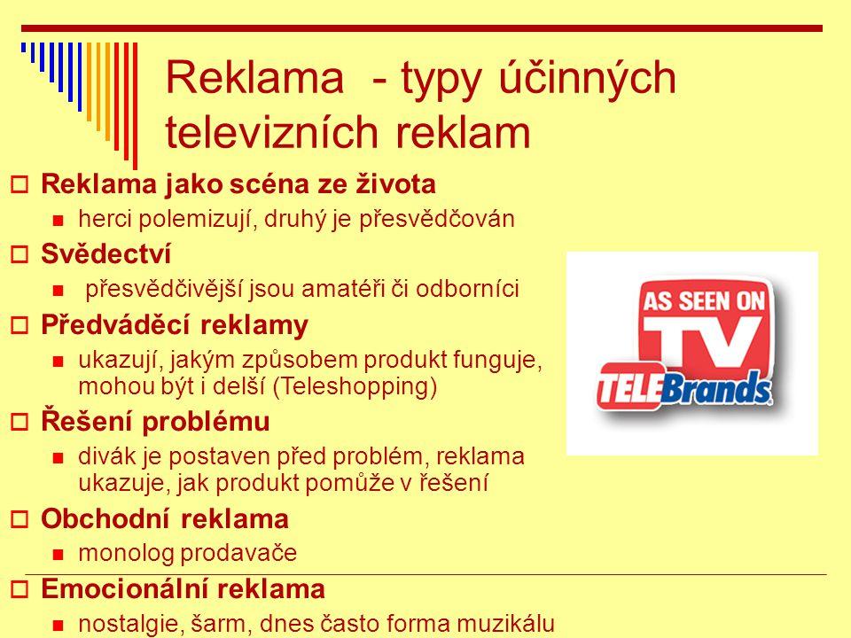 Reklama - typy účinných televizních reklam  Reklama jako scéna ze života herci polemizují, druhý je přesvědčován  Svědectví přesvědčivější jsou amatéři či odborníci  Předváděcí reklamy ukazují, jakým způsobem produkt funguje, mohou být i delší (Teleshopping)  Řešení problému divák je postaven před problém, reklama ukazuje, jak produkt pomůže v řešení  Obchodní reklama monolog prodavače  Emocionální reklama nostalgie, šarm, dnes často forma muzikálu