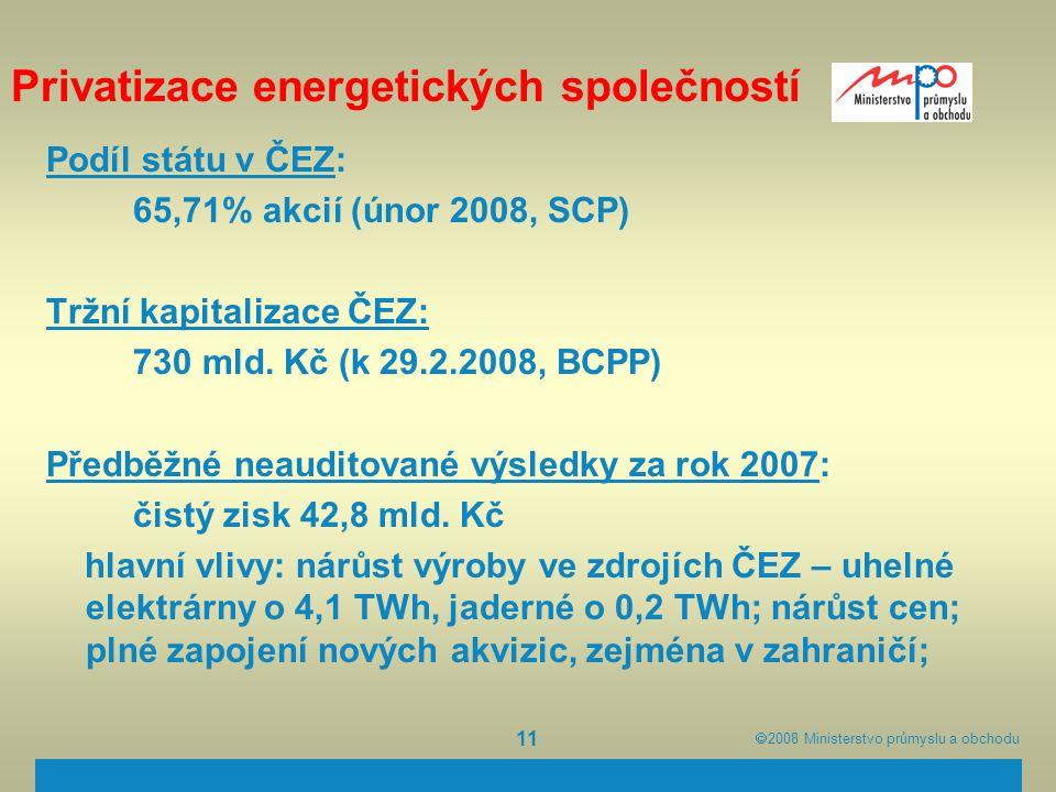  2008  Ministerstvo průmyslu a obchodu 11 Privatizace energetických společností Podíl státu v ČEZ: 65,71% akcií (únor 2008, SCP) Tržní kapitalizace