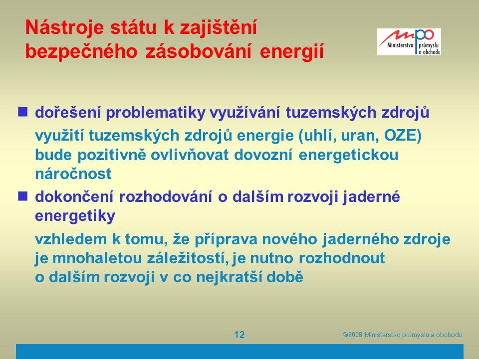  2008  Ministerstvo průmyslu a obchodu 12 Nástroje státu k zajištění bezpečného zásobování energií dořešení problematiky využívání tuzemských zdroj