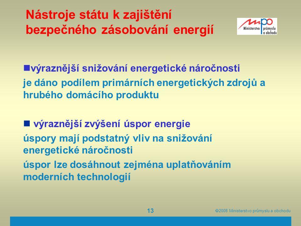  2008  Ministerstvo průmyslu a obchodu 13 Nástroje státu k zajištění bezpečného zásobování energií výraznější snižování energetické náročnosti je d
