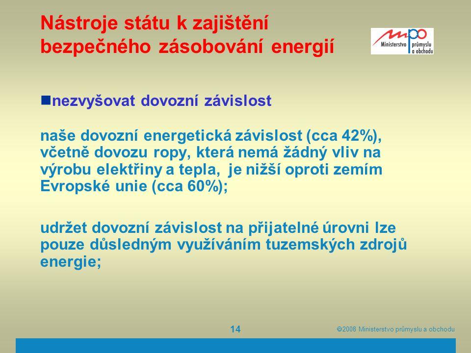  2008  Ministerstvo průmyslu a obchodu 14 Nástroje státu k zajištění bezpečného zásobování energií nezvyšovat dovozní závislost naše dovozní energe