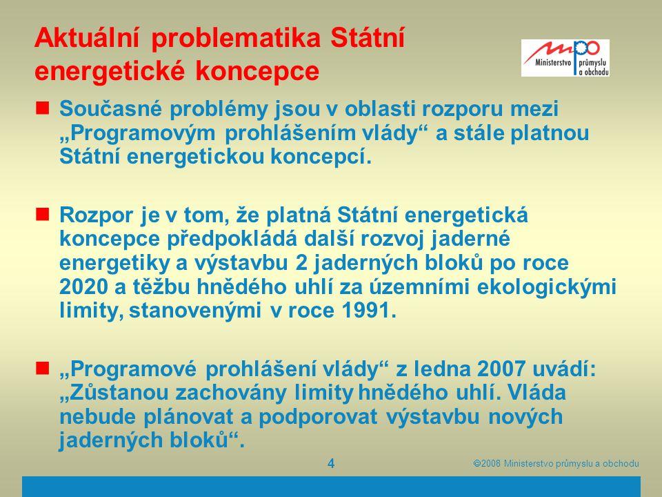 """ 2008  Ministerstvo průmyslu a obchodu 4 Aktuální problematika Státní energetické koncepce Současné problémy jsou v oblasti rozporu mezi """"Programov"""