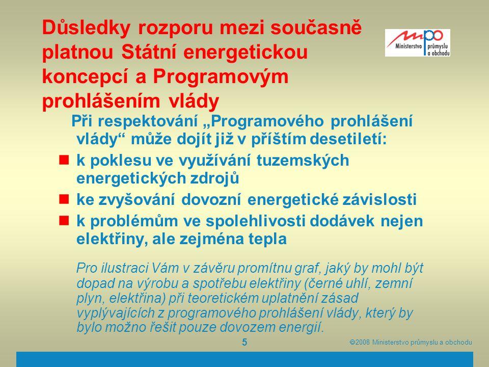  2008  Ministerstvo průmyslu a obchodu 5 Důsledky rozporu mezi současně platnou Státní energetickou koncepcí a Programovým prohlášením vlády Při re