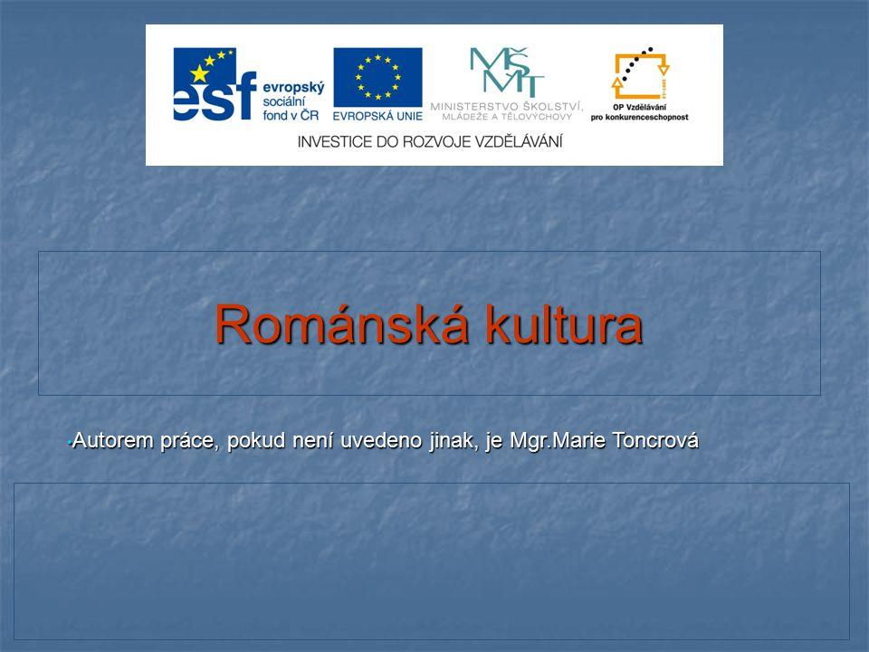 Románská kultura Autorem práce, pokud není uvedeno jinak, je Mgr.Marie Toncrová Autorem práce, pokud není uvedeno jinak, je Mgr.Marie Toncrová