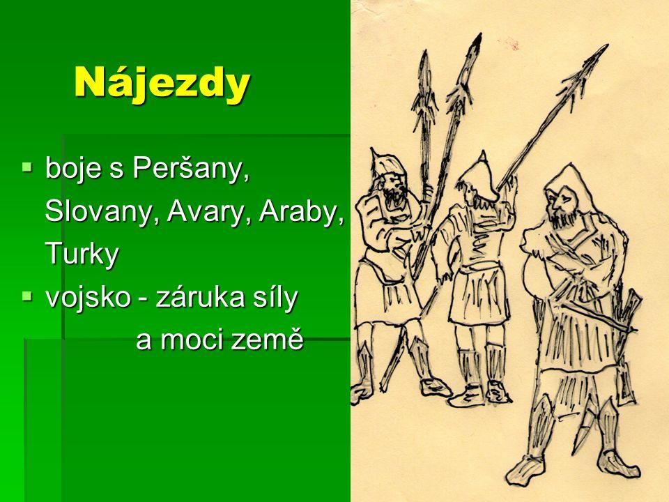 Nájezdy  boje s Peršany, Slovany, Avary, Araby, Slovany, Avary, Araby, Turky Turky  vojsko - záruka síly a moci země a moci země