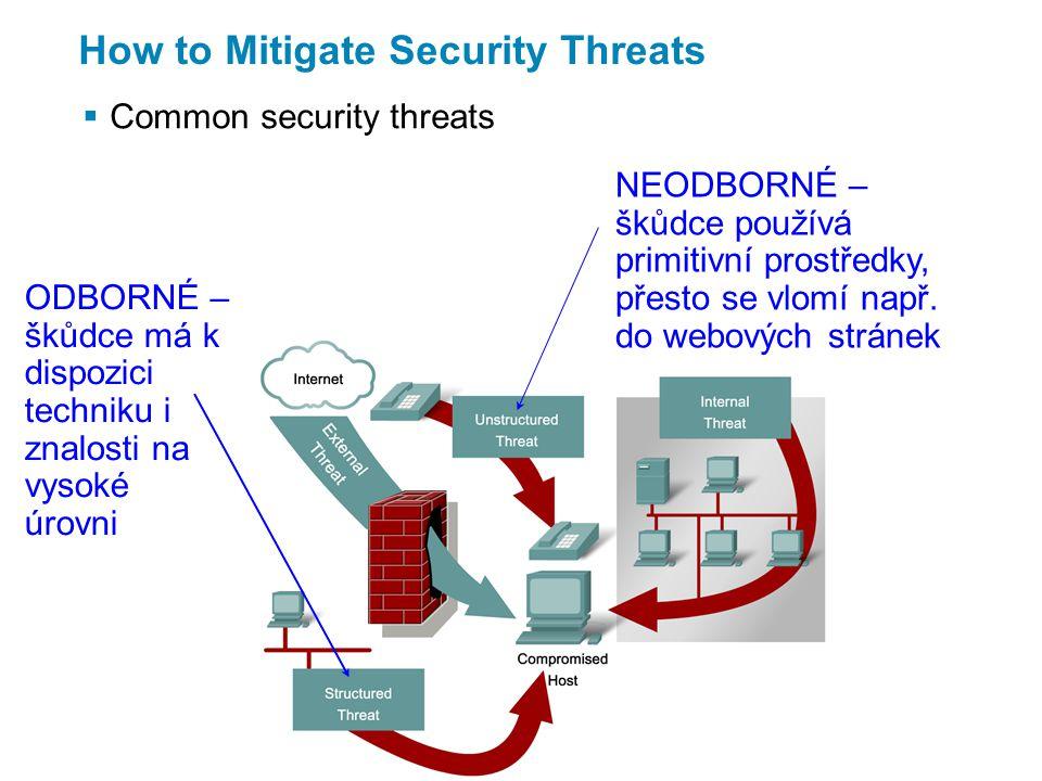 How to Mitigate Security Threats  Types of network attacks Obhlídka terénu – sbírání informací, příprava na vlastní útok Neoprávněný přístup – pomocí odborných nástrojů a s využitím slabin systému