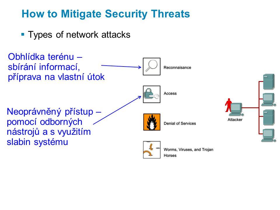 Disable Unused Services and Interfaces  Vulnerabilities of management services zranitelnost SNMP = Simple Network Management Protocol v nižších verzích přenáší řídicí informace otevřeným textem.