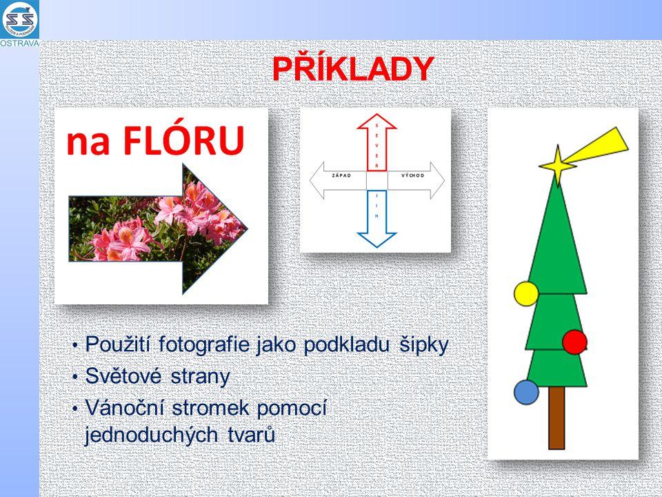 PŘÍKLADY Použití fotografie jako podkladu šipky Světové strany Vánoční stromek pomocí jednoduchých tvarů