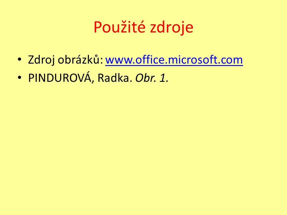 Použité zdroje Zdroj obrázků: www.office.microsoft.comwww.office.microsoft.com PINDUROVÁ, Radka.
