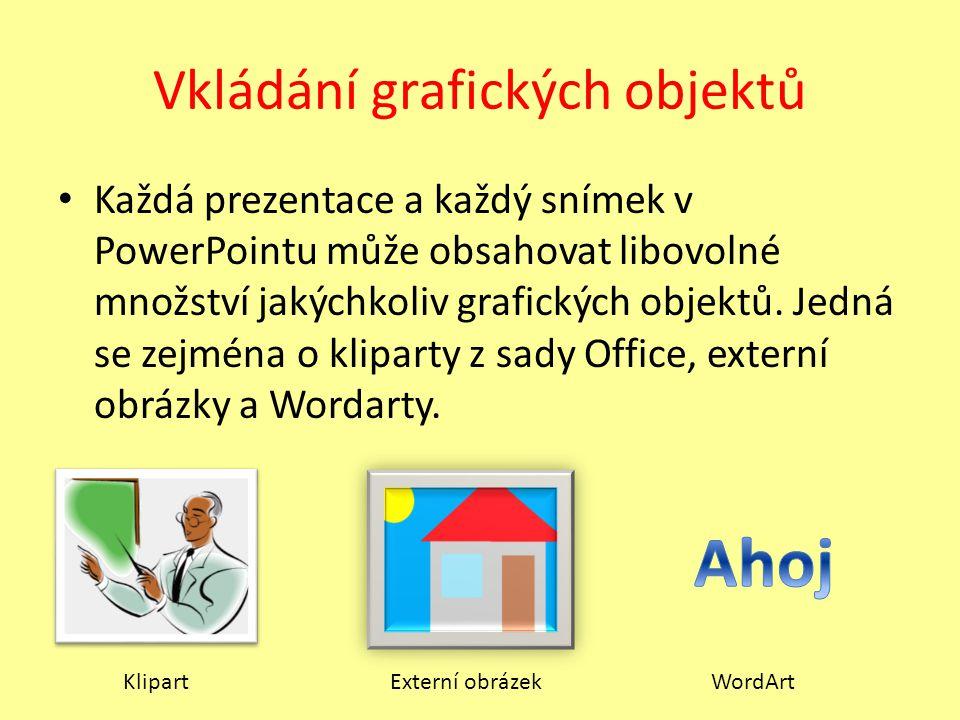 Vkládání grafických objektů Každá prezentace a každý snímek v PowerPointu může obsahovat libovolné množství jakýchkoliv grafických objektů. Jedná se z