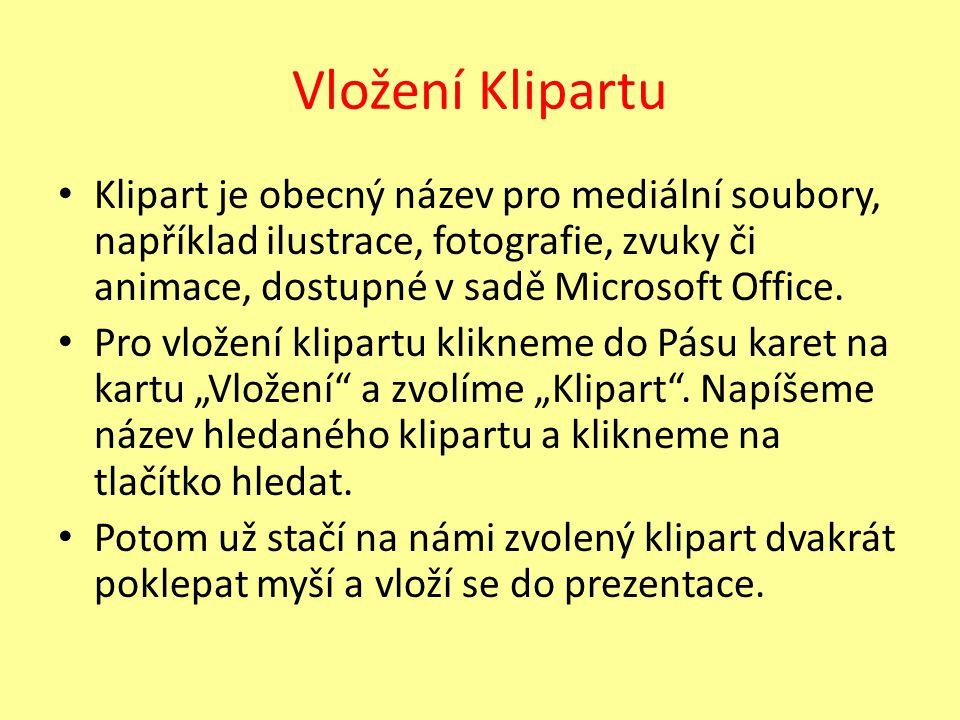 Vložení Klipartu Klipart je obecný název pro mediální soubory, například ilustrace, fotografie, zvuky či animace, dostupné v sadě Microsoft Office. Pr