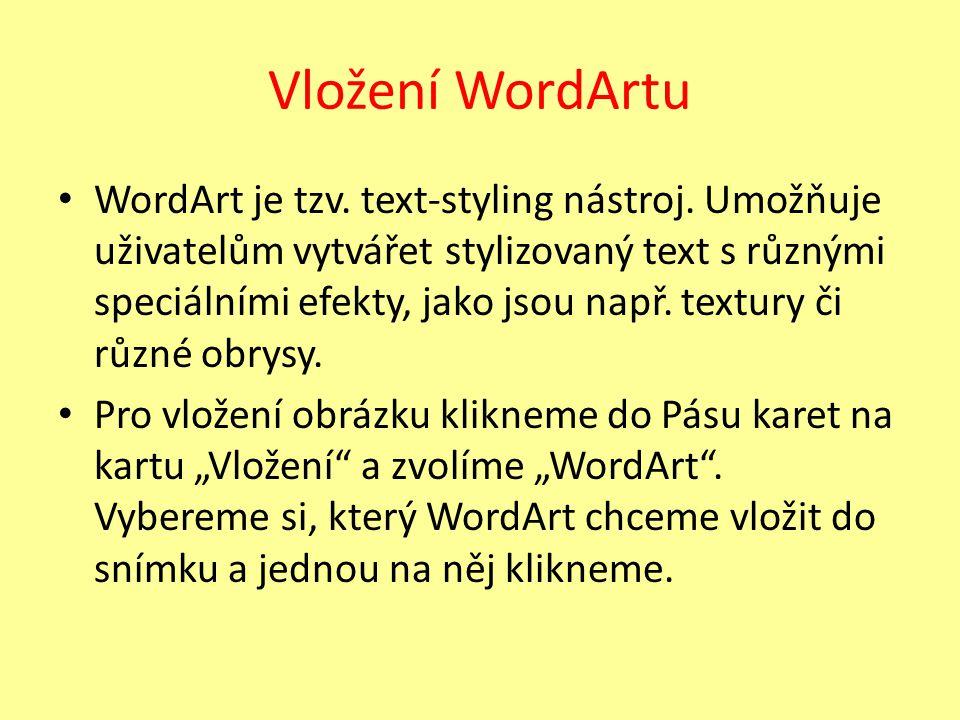 Vložení WordArtu WordArt je tzv. text-styling nástroj. Umožňuje uživatelům vytvářet stylizovaný text s různými speciálními efekty, jako jsou např. tex
