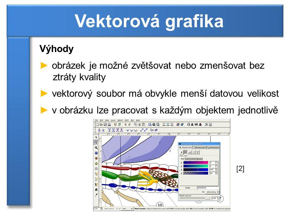 Výhody ► obrázek je možné zvětšovat nebo zmenšovat bez ztráty kvality ► vektorový soubor má obvykle menší datovou velikost ► v obrázku lze pracovat s každým objektem jednotlivě Vektorová grafika [2]