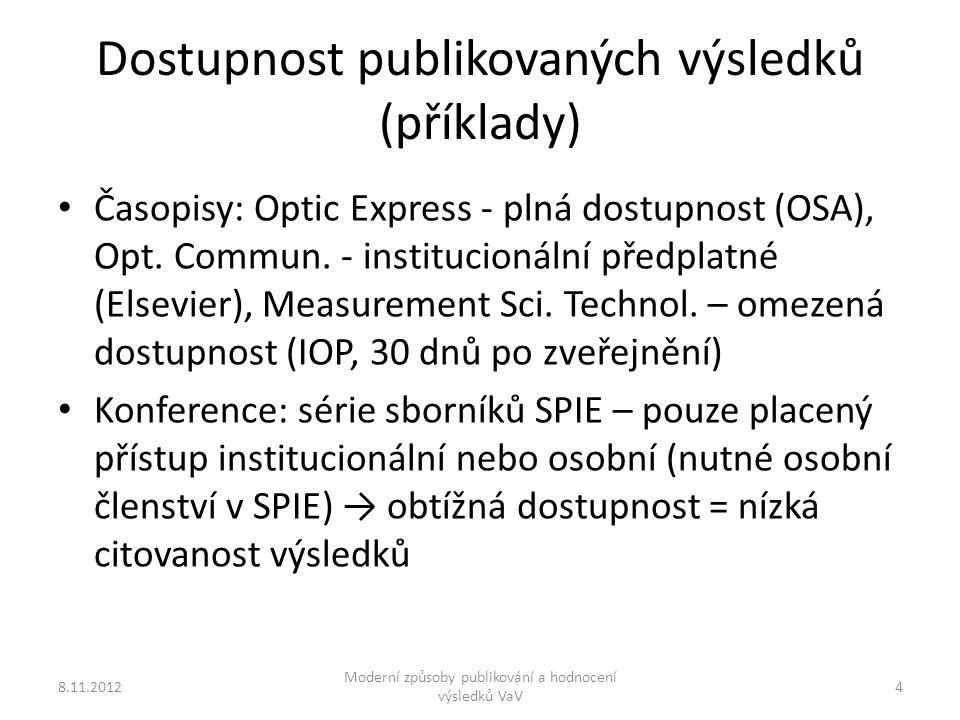 Dostupnost publikovaných výsledků (příklady) Časopisy: Optic Express - plná dostupnost (OSA), Opt.