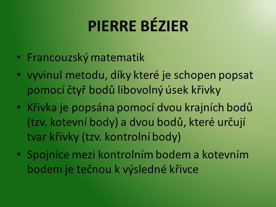 PIERRE BÉZIER Francouzský matematik vyvinul metodu, díky které je schopen popsat pomocí čtyř bodů libovolný úsek křivky Křivka je popsána pomocí dvou