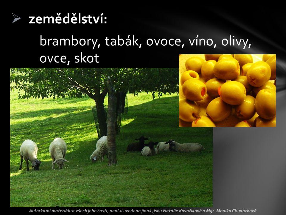  zemědělství: brambory, tabák, ovoce, víno, olivy, ovce, skot Autorkami materiálu a všech jeho částí, není-li uvedeno jinak, jsou Natálie Kovaříková a Mgr.