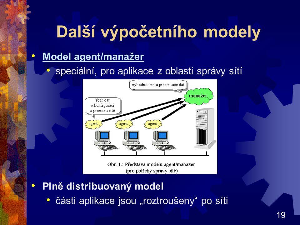 """19 Další výpočetního modely Model agent/manažer speciální, pro aplikace z oblasti správy sítí Plně distribuovaný model části aplikace jsou """"roztroušen"""