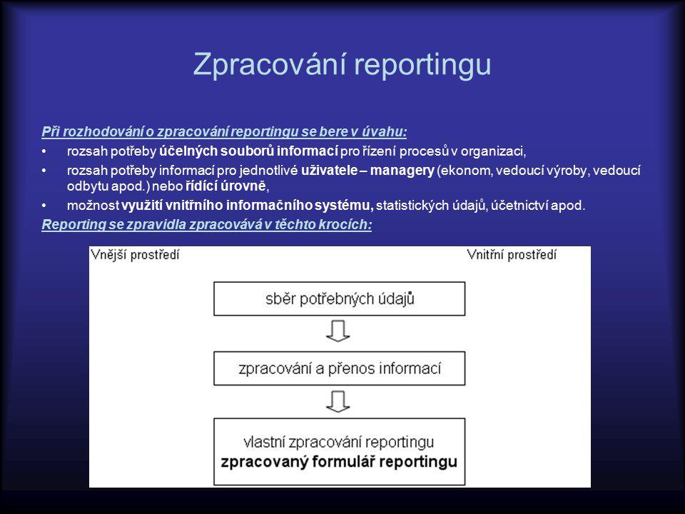 Zpracování reportingu Při rozhodování o zpracování reportingu se bere v úvahu: rozsah potřeby účelných souborů informací pro řízení procesů v organiza