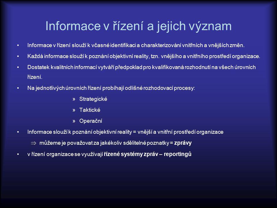 Informace v řízení a jejich význam Informace v řízení slouží k včasné identifikaci a charakterizování vnitřních a vnějších změn. Každá informace slouž