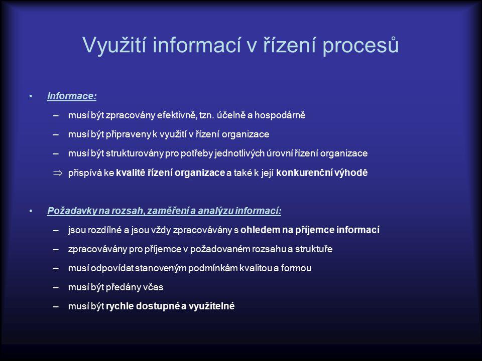 Využití informací v řízení procesů Informace: –musí být zpracovány efektivně, tzn. účelně a hospodárně –musí být připraveny k využití v řízení organiz