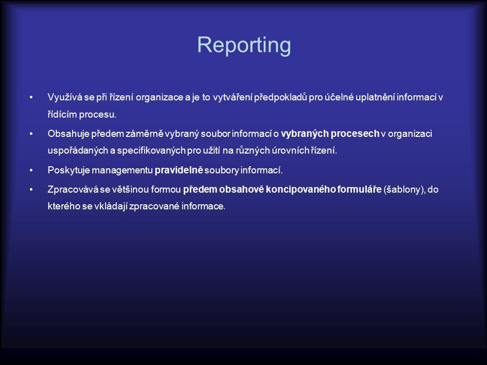 Reporting Využívá se při řízení organizace a je to vytváření předpokladů pro účelné uplatnění informací v řídícím procesu. Obsahuje předem záměrně vyb