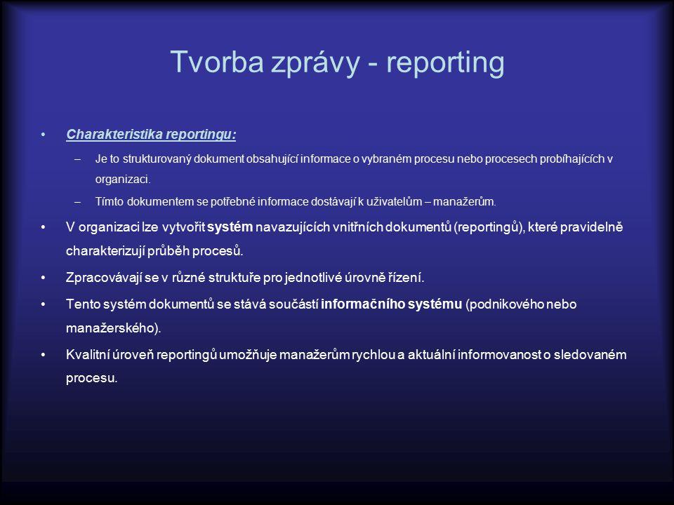 Členění reportingu z časového hlediska na: reporting retrospektivní reporting s orientací na budoucnost z hlediska zaměření na: reporting dílčí obsahující hodnocení pouze vybraných procesů (bez návazností) reporting souhrnný hodnotící celkový vývoj např.