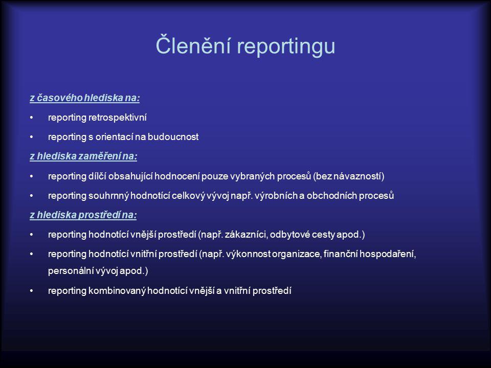 Členění reportingu z časového hlediska na: reporting retrospektivní reporting s orientací na budoucnost z hlediska zaměření na: reporting dílčí obsahu