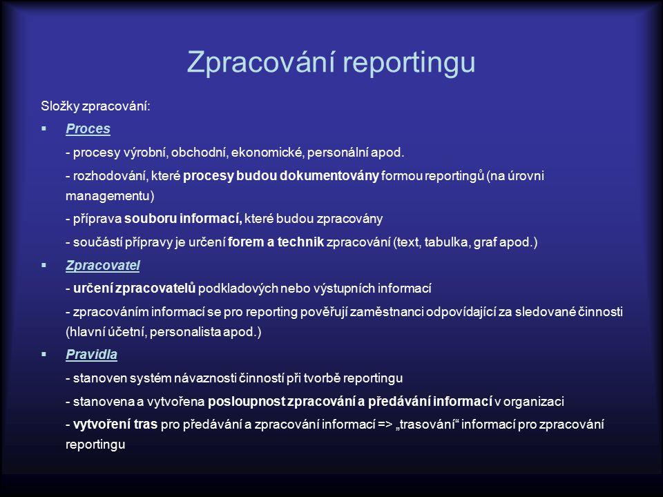 Zpracování reportingu Složky zpracování:  Proces - procesy výrobní, obchodní, ekonomické, personální apod. - rozhodování, které procesy budou dokumen