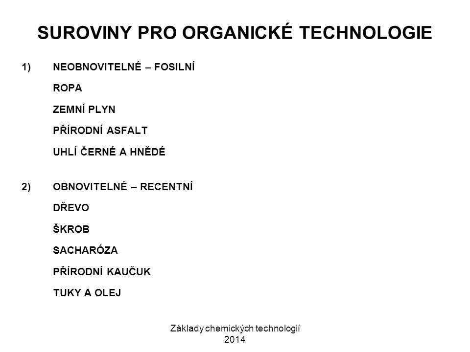 Základy chemických technologií 2014 SUROVINY PRO ORGANICKÉ TECHNOLOGIE 1)NEOBNOVITELNÉ – FOSILNÍ ROPA ZEMNÍ PLYN PŘÍRODNÍ ASFALT UHLÍ ČERNÉ A HNĚDÉ 2)