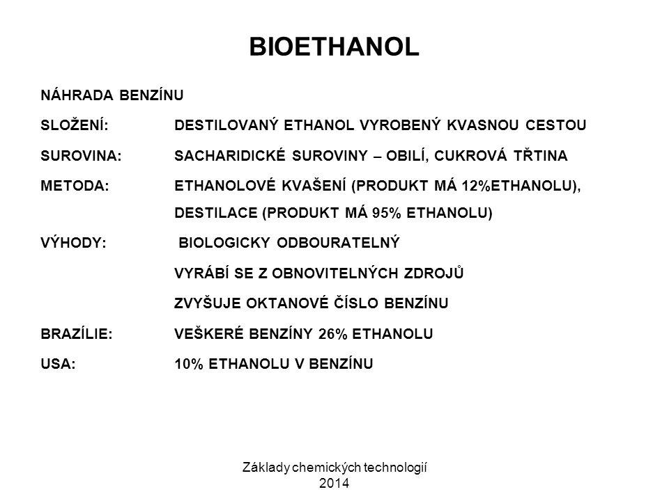 Základy chemických technologií 2014 BIOETHANOL NÁHRADA BENZÍNU SLOŽENÍ:DESTILOVANÝ ETHANOL VYROBENÝ KVASNOU CESTOU SUROVINA:SACHARIDICKÉ SUROVINY – OB