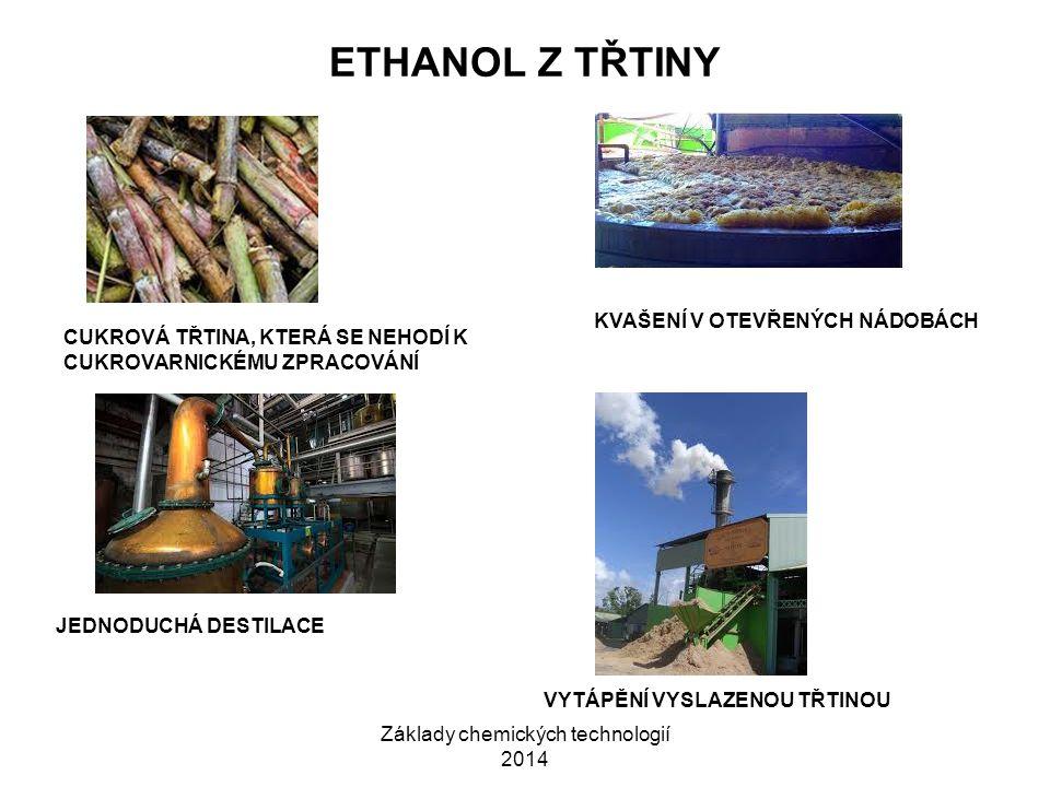 Základy chemických technologií 2014 ETHANOL Z TŘTINY CUKROVÁ TŘTINA, KTERÁ SE NEHODÍ K CUKROVARNICKÉMU ZPRACOVÁNÍ KVAŠENÍ V OTEVŘENÝCH NÁDOBÁCH JEDNOD