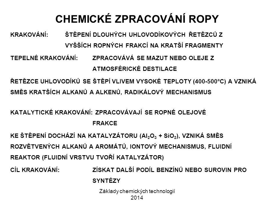Základy chemických technologií 2014 CHEMICKÉ ZPRACOVÁNÍ ROPY KRAKOVÁNÍ:ŠTĚPENÍ DLOUHÝCH UHLOVODÍKOVÝCH ŘETĚZCŮ Z VYŠŠÍCH ROPNÝCH FRAKCÍ NA KRATŠÍ FRAG