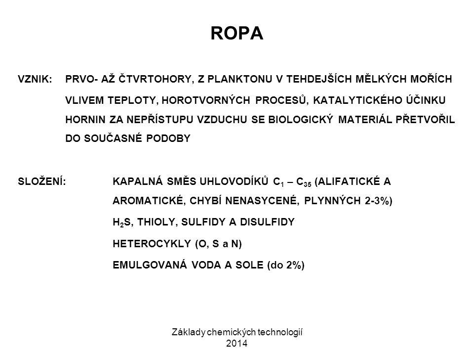 Základy chemických technologií 2014 ROPA VZNIK:PRVO- AŽ ČTVRTOHORY, Z PLANKTONU V TEHDEJŠÍCH MĚLKÝCH MOŘÍCH VLIVEM TEPLOTY, HOROTVORNÝCH PROCESŮ, KATA
