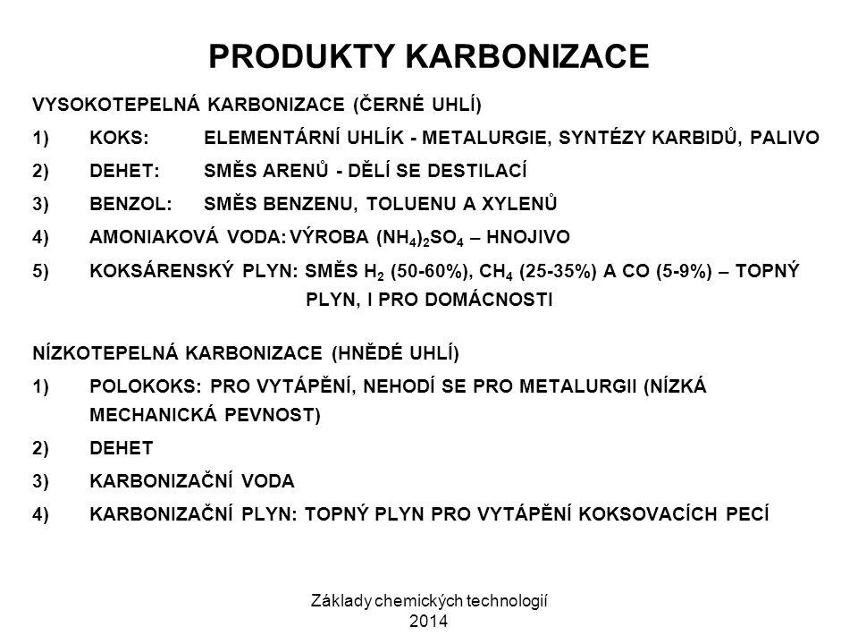 Základy chemických technologií 2014 PRODUKTY KARBONIZACE VYSOKOTEPELNÁ KARBONIZACE (ČERNÉ UHLÍ) 1)KOKS:ELEMENTÁRNÍ UHLÍK - METALURGIE, SYNTÉZY KARBIDŮ